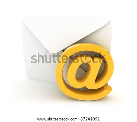 E-mail concept 3D rendered isolated - stock photo