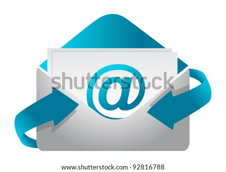 E-mail concept illustration design on a white background - stock photo