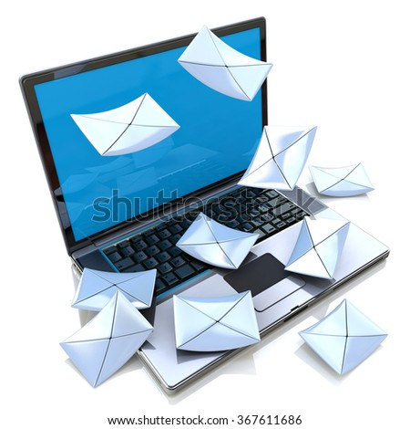 E-mail concept. Modern Laptop and envelope in the design of information related to internet - stock photo