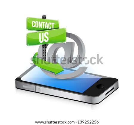 E mail contact us at sign illustration design over smartphone - stock photo