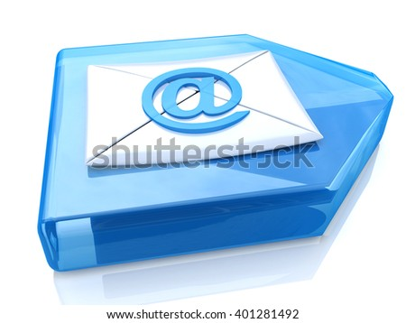 E-Mail Envelope and blue arrow. 3D rendered illustration - stock photo