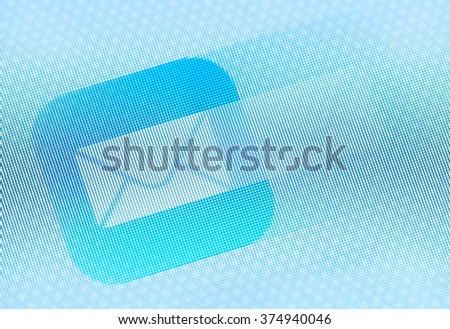 e-mail icon in motion on the screen                                - stock photo