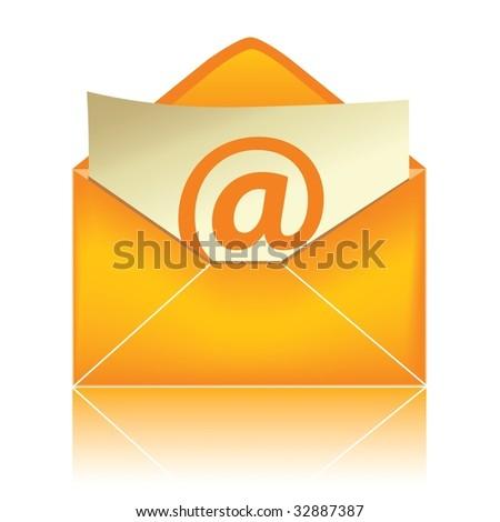 E-mail icon, orange #2 - stock photo