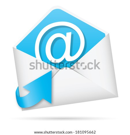 E-mail icon with arrow illustration (rasterized version). - stock photo