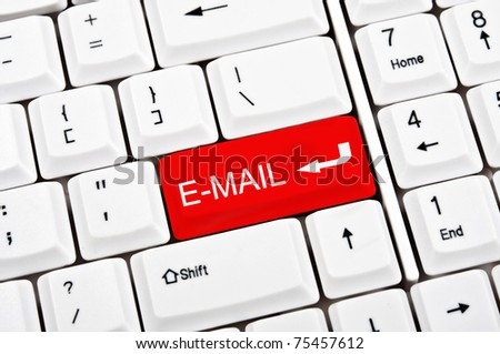 E-mail key in place of enter key - stock photo