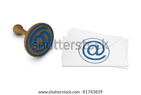 E-mail letters and post stamp tool. - stock photo