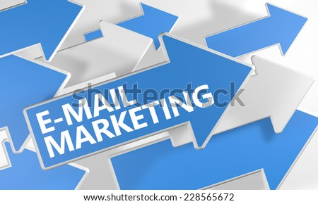 E-mail Marketing 3d render concept with blue and white arrows flying over a white background. - stock photo