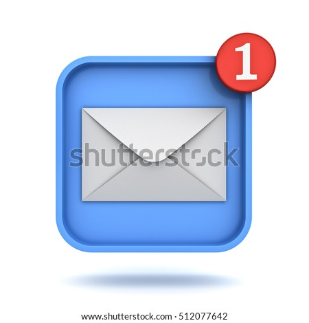 E mail notification one new email message in the inbox button concept isolated over white background with shadow. 3D rendering.