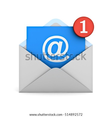 E mail notification one new email message in the inbox concept isolated over white background with reflection and shadow. 3D rendering.