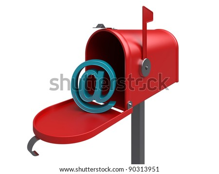 e-mail. Red internet mailbox, isolated. 3d rendered image - stock photo