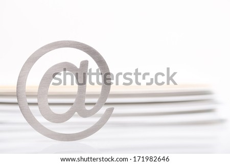 e mail sign and letters - stock photo