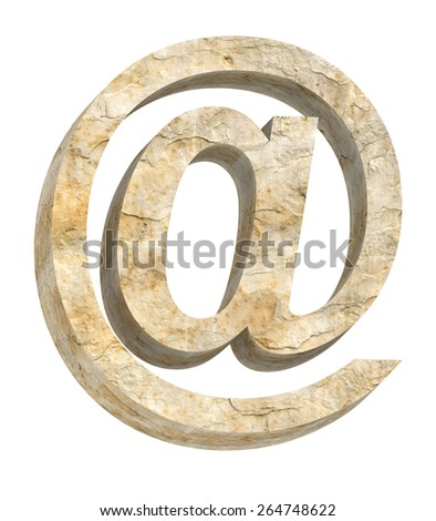 E-mail sign from sandstone alphabet set isolated over white. Computer generated 3D photo rendering. - stock photo