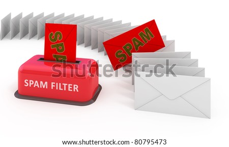 E-mail spam filter 3d concept - stock photo