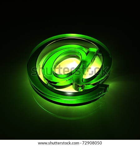 e-mail symbol glass - green - stock photo