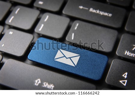 E-mailing Marketing campaign key with mailing envelope icon on laptop keyboard. Included clipping path, so you can easily edit it. - stock photo