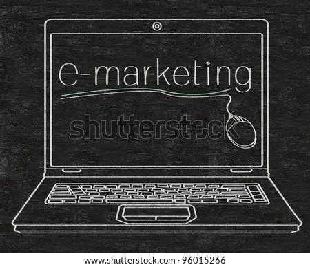 e marketing written on computer screen on blackboard - stock photo