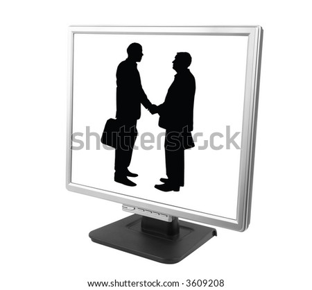 e-partnership (isolated pc screen with businessman made from my images and photo) - stock photo