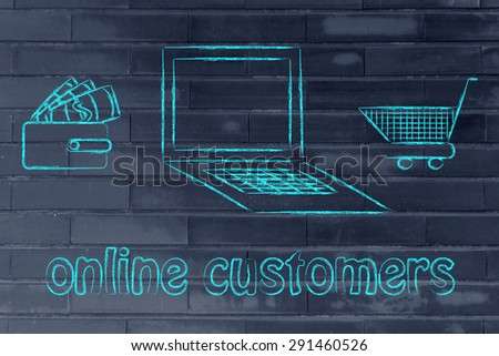 e-shopping and online customers: laptop, wallet and shopping cart