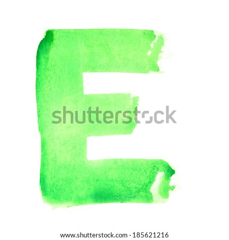 E - Watercolor letters over white background