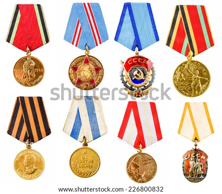Each Medal Photographed Separately. Collection Set Collage Of Russian Soviet Medals For Participation In The Second World War On White Isolated Background. - stock photo