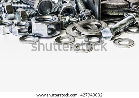 Each threaded fasteners bolts nuts and key.