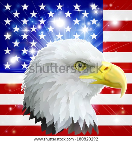 Eagle America love heart concept with and American bald eagle in front of the American flag