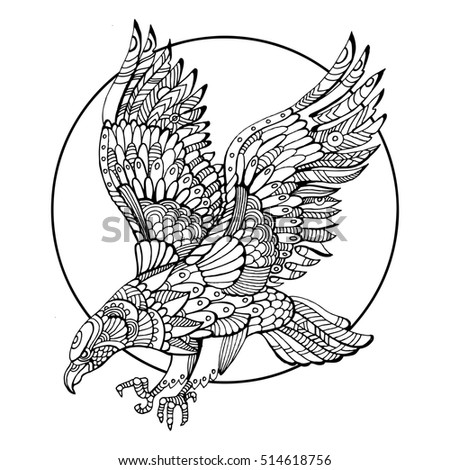 Eagle Bird Coloring Book For Adults Raster Illustration Anti Stress Adult