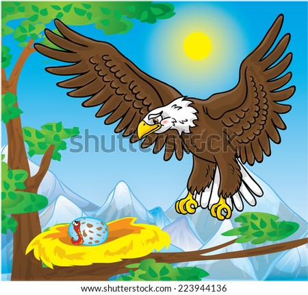 Eagle, eagle's nest with egg and worm  - stock photo