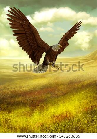 eagle fantasy land - stock photo