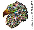 Eagle Hawk Psychedelic Art Design - stock vector