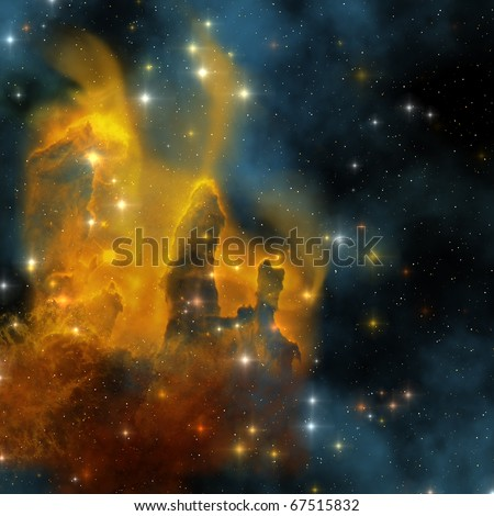 EAGLE NEBULA - The famous colorful nebula shines bright with star making in its clouds. - stock photo