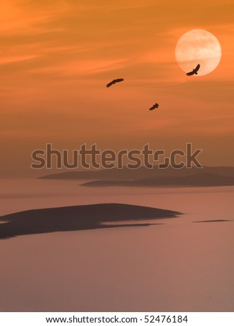 eagles flying over the islands at dusk with the big moon in the background - stock photo