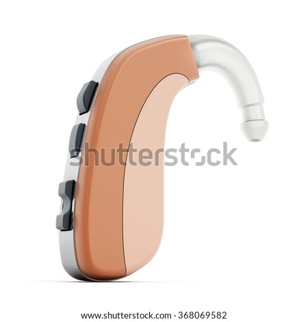 Ear aid or hearing aid isolated on white background - stock photo