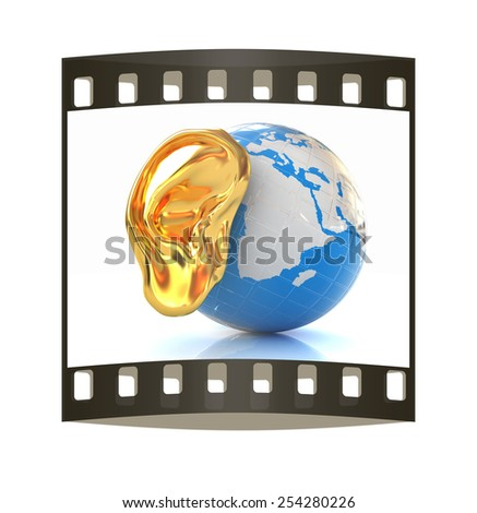 Ear gold 3d on earth render isolated on white background. Global. The film strip - stock photo