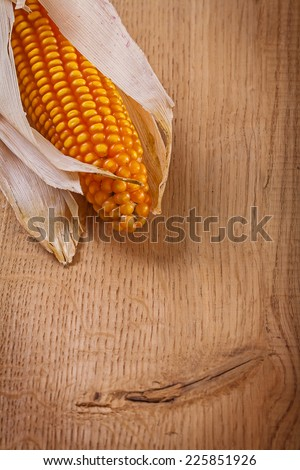 ear of ripe corn on wooden board very close up - stock photo