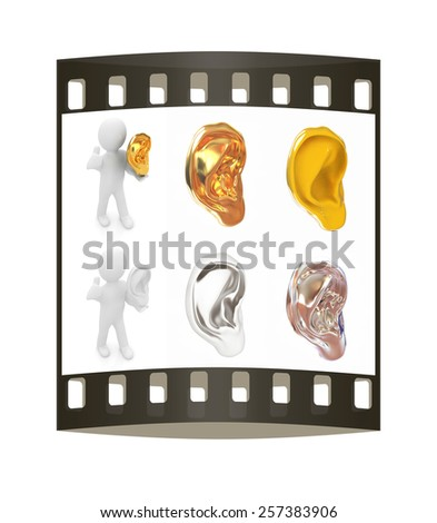 Ear set on a white background. The film strip - stock photo