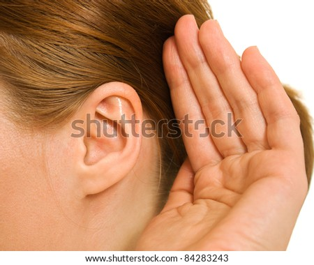 Ear women as part of the body. - stock photo