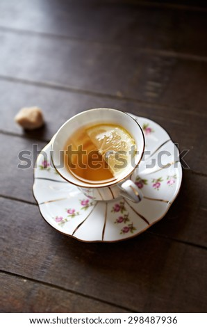 Earl Gray Tea with Lemon - stock photo