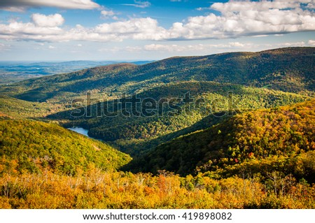 Early autumn view of the Appalachians from Moormans River Overlook, Shenandoah National Park, Virginia. - stock photo