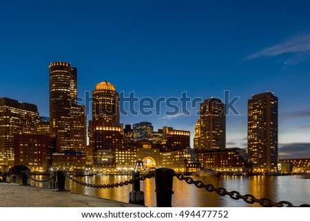 Early blue hour photo of Boston, Ma skyline.