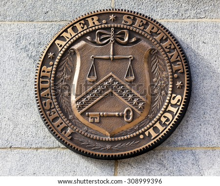 Early Bronze Seal Sign Symbol US Treasury Department until 1968.  This seal was first used by Treasury in 1780 until 1968. - stock photo