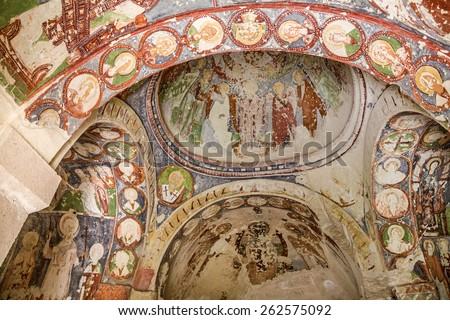 Early Christian fresco in cave orthodox church Goreme, Anatolia - stock photo