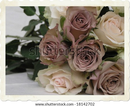 early-color  photograph of a brides bouquet with a variety of roses