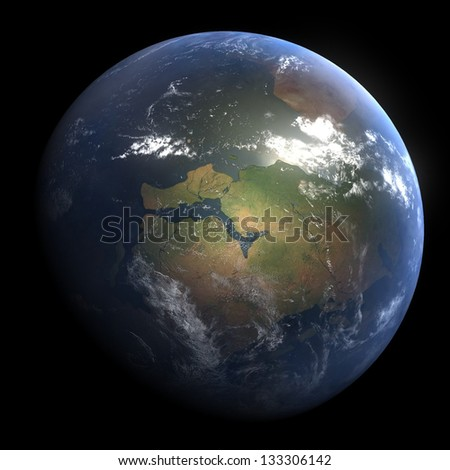 Early Devonian Earth - 440 Million Years Ago - stock photo