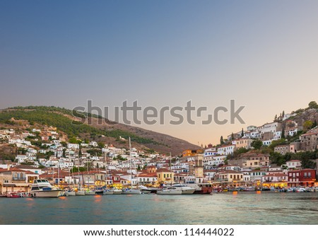 Early evening view of the main town on the island of Hydra, Greece - stock photo