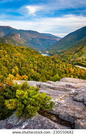 Early fall view from Bald Mountain, at Franconia Notch State Park, New Hampshire. - stock photo