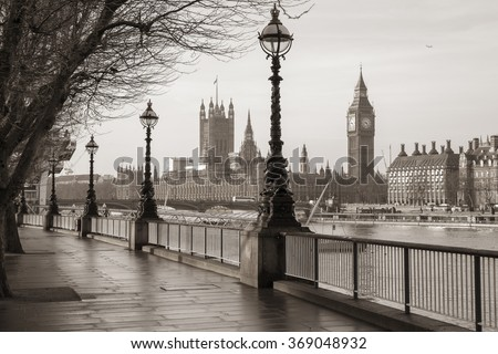Early in the morning in central London with Big Ben and Houses of Parliament - vintage version - England, UK - stock photo