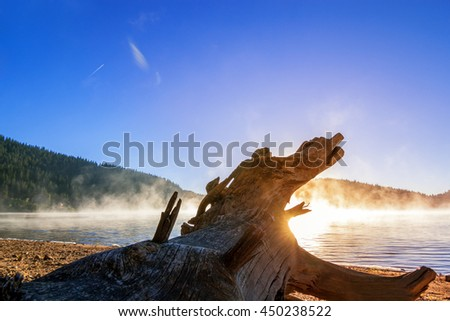 early in the morning on the river with a beautiful sunset and fog - stock photo