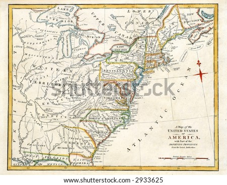 Early map of NE America, printed in England in 1795. - stock photo