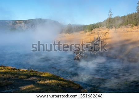 Early morning at Terrace Springs in Yellowstone National Park Wyoming. - stock photo